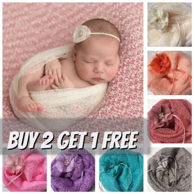 Mesh gauze cheesecloth wraps and flower headband newborn photography prop