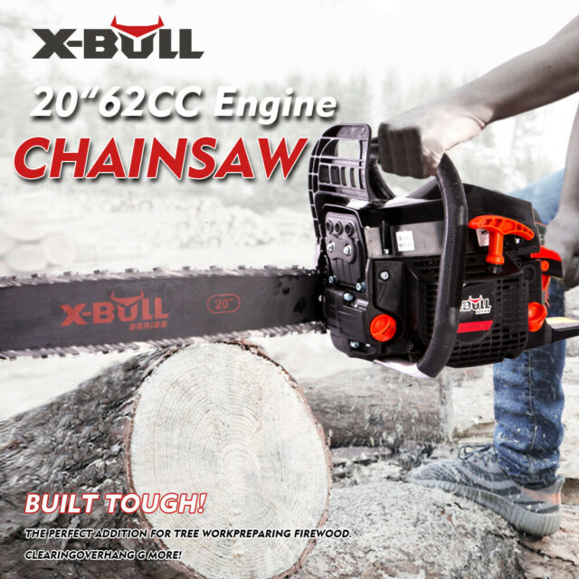 "New 62cc Chainsaw 20"" Bar Petrol Commercial Chain Saw E-Start Pruning X-BULL"