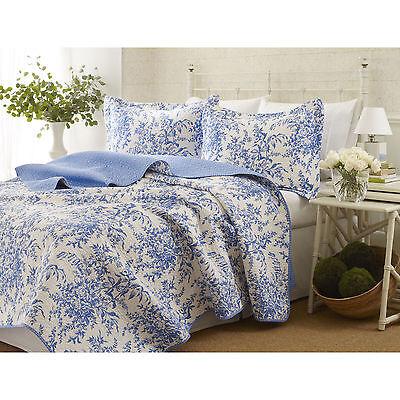 BEAUTIFUL REVERSIBLE CLASSIC COTTON BLUE WHITE FLOWER VINTAGE ANTIQUE QUILT SET