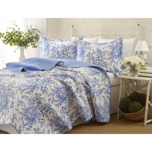 BEAUTIFUL COTTAGE CHIC REVERSIBLE BLUE WHITE FLOWER VINTAGE ANTIQUE QUILT SET
