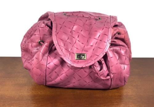 Winifred Wejman Pink Leather Cinch Purse, Shoulder