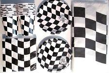 Black & White Checkered Flag Racing Birthday Party Supply Kit Set for 16