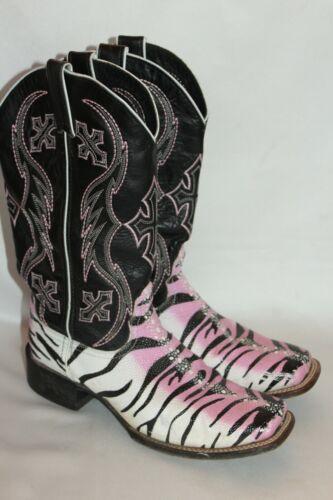 NOCONA Pink Black Zebra Leather Cowgirl Square Toe