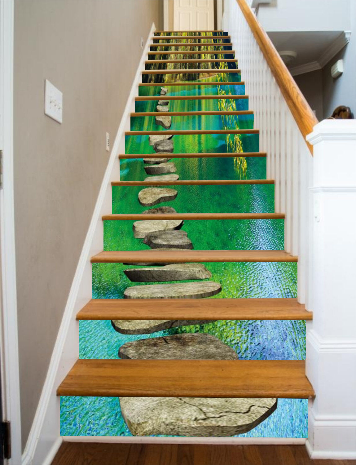 3D River, stone Stair Risers Decoration Photo Mural Vinyl Decal Wallpaper US