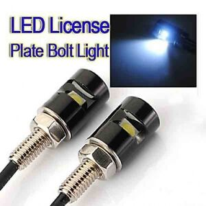 2-x-LED-number-licence-Plate-Bolt-Lights-triumph-bmw-buell-harley-victory-ktm