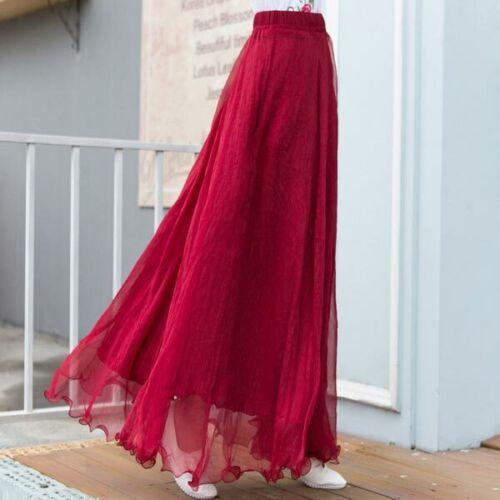 Swing retro high waist new flared chiffon maxi dress solid pleated women