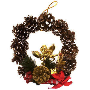 image is loading small pine cone christmas wreath w gold angel - Small Christmas Wreaths