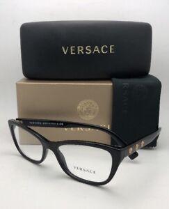 5d34e23d90c5 New VERSACE Rx-able Eyeglasses VE 3249 GB1 54-16 Black   Gold Frames ...