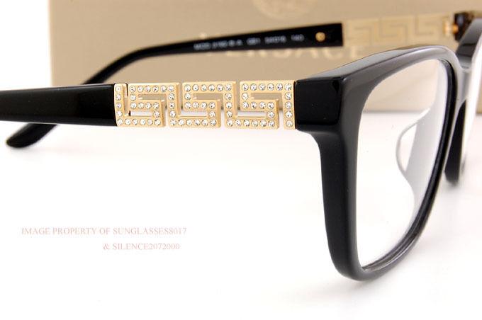 Brand New VERSACE Eyeglass Frames 3192B GB1 for Women BLACK 100 ...