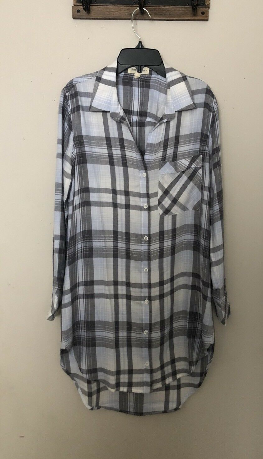 NEW CLOTH & STONE BELLA DAHL Sz XS LONG SLEEVE SHIRT DRESS PLAID Weiß Blau