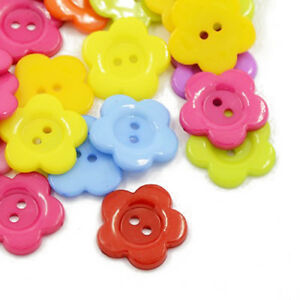 Packet-50-Mixed-Acrylic-16mm-Flower-2-Holed-Sew-On-Buttons-HA07165