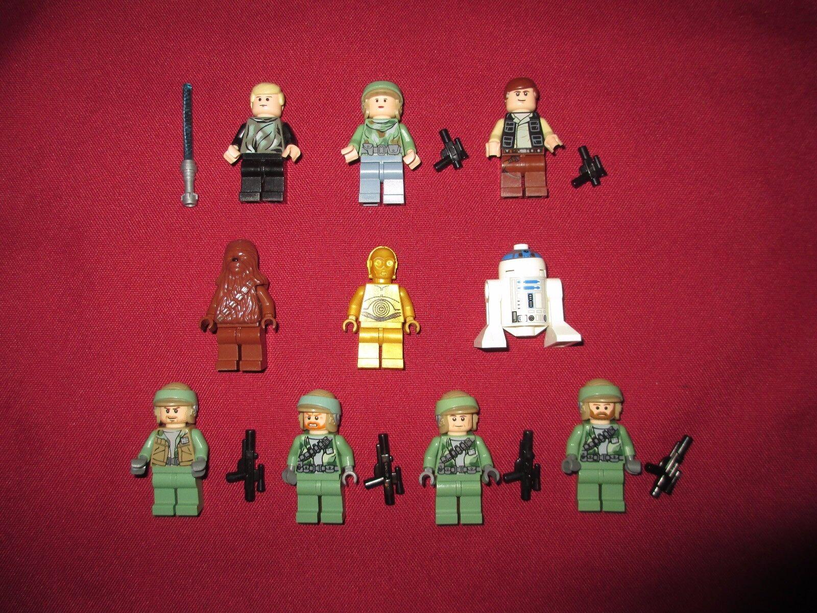 LEGO Star Wars Minifigure LOT Endor Soldiers , , , Leia , Luke ,Han, Chewy,C3po R2 a97494