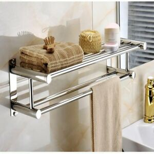 Image Is Loading Double Towel Rail Holder Wall Mounted Bathroom Rack