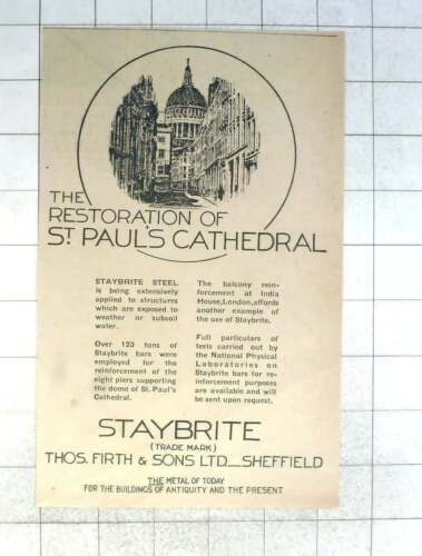 1930 Staybrite Steel Used In The Restoration Of St Paul's Cathedral