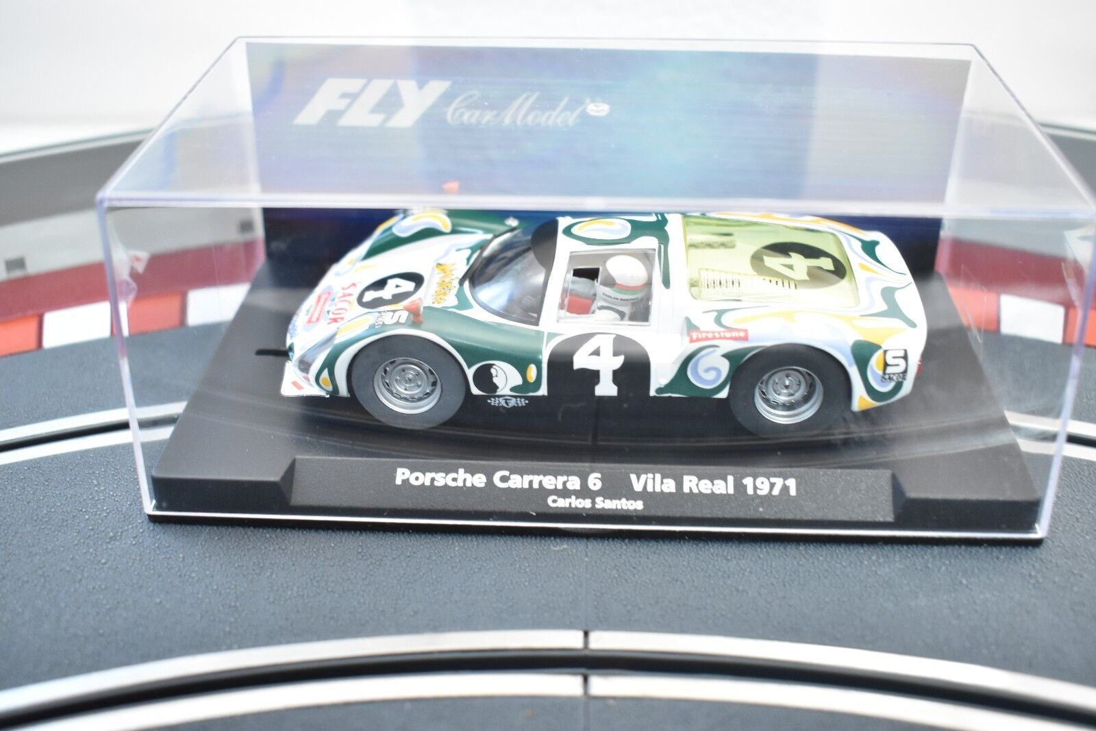 FLY CAR MODEL 1 32 SLOT CAR PORSCHE CARRERA 6 VILA REAL 1971 CARLO SANTOS