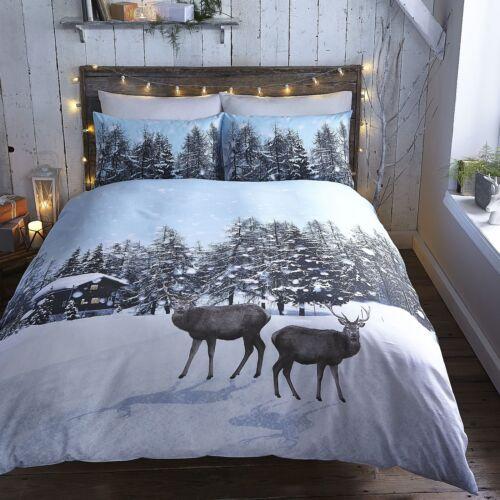 Snow ciervos Ropa De Cama Navidad//Conjuntos De Funda De Edredón-Muñeco de Nieve Let It Nieve O Ciervo