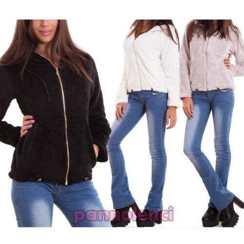 Giacca donna eco pelliccia giubbino giacchetto fur zip cappuccio nuova Z-308