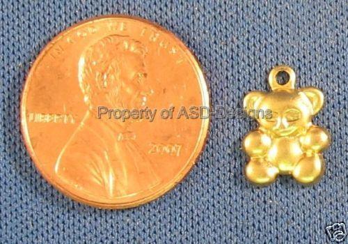 50pc Raw Brass Cuddle Babies Teddy Bear Charms 4182