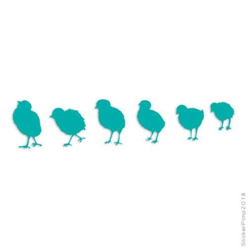 Size #823 Row of Chicks Decal Sticker Choose Color