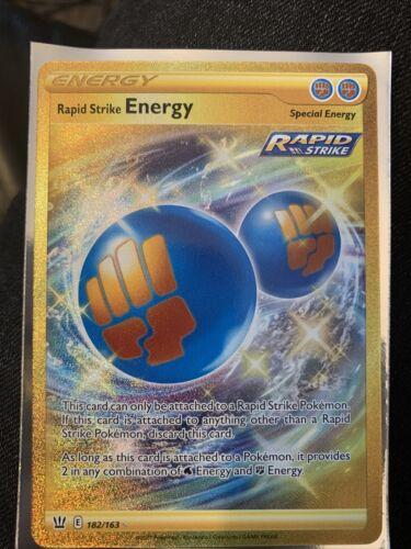Pokemon Card Rapid Strike ENERGY 182/163 GOLD SECRET RARE MINT!