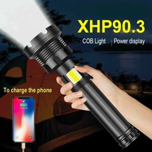 400000LM XHP90.3 LED Flashlight Torch Powerful Rechargeable Tactical Flashlight