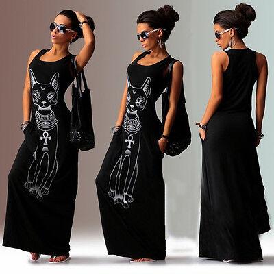 Damen Ärmellos BOHO Maxi Lang Kleid Katzen-Druck Strandkleid Sommerkleid Bodycon