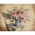 Dimensions Roses on White Chair Counted Cross Stitch Kit 35187 14x11 Complete