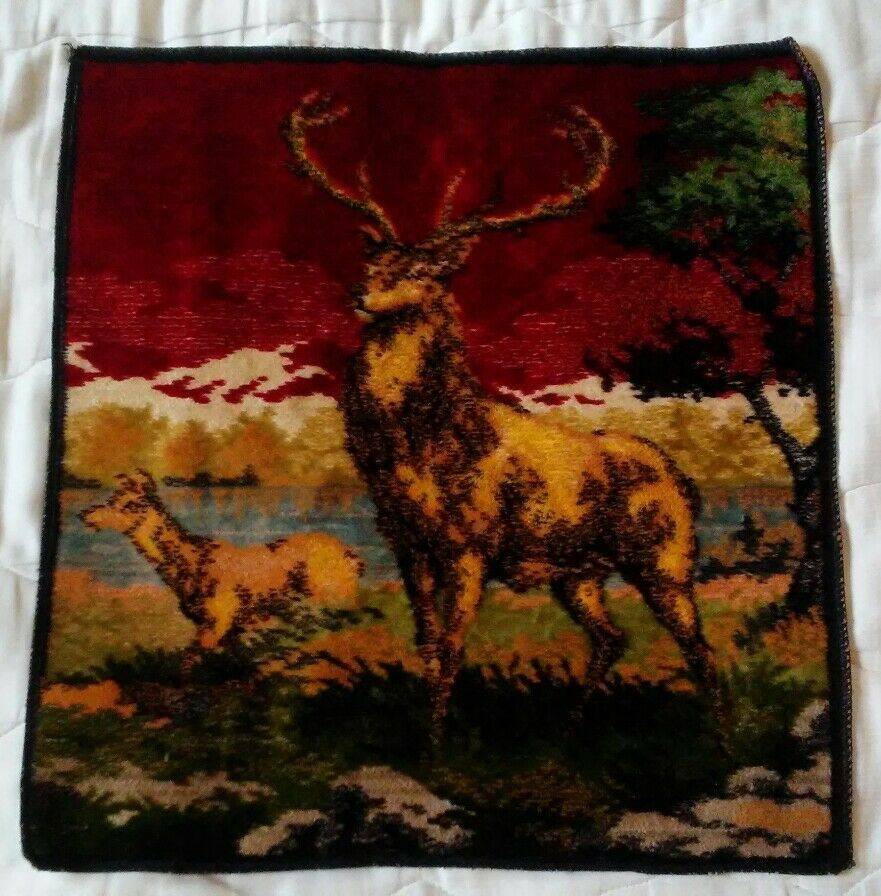 Vintage Pillow Cover Tapestry Made in  Deer Woods Cabin Decor Man Cave Art