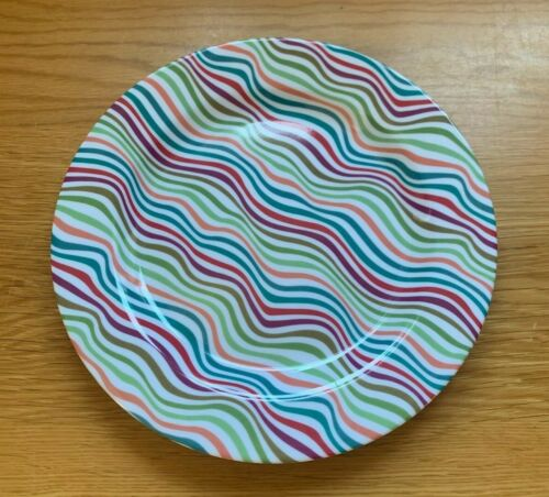 Summit Multi Coloured Waves Side Plate 20 cm Melamine Camping Party Tableware