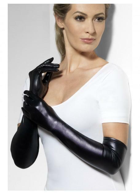 Black Wet Look Gloves