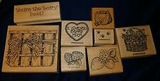 Lot of 8 - 1995 STAMPIN UP Wooden Rubber Stamps Garden Berries Bees Melons