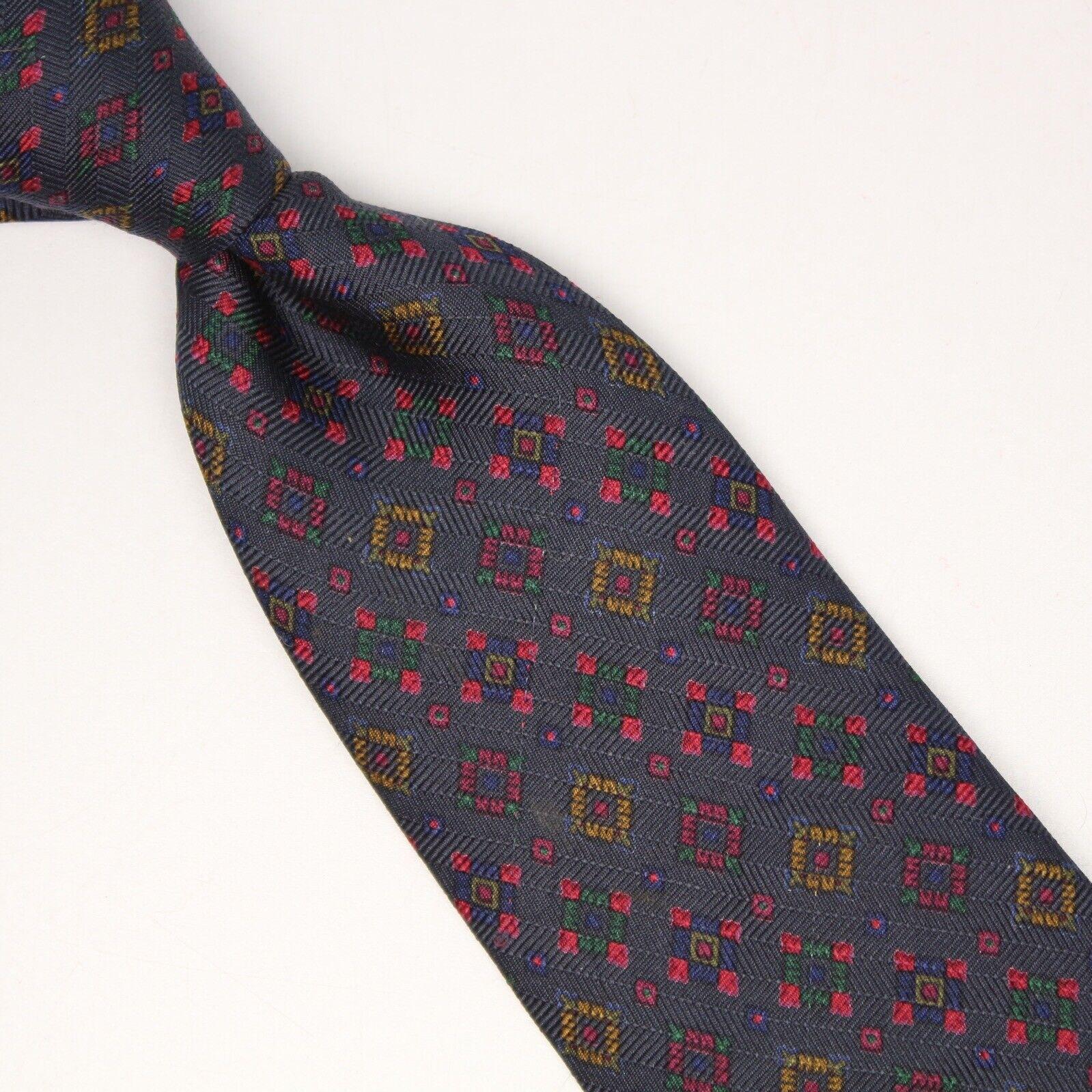 ETRO Herren Seide Krawatte Dunkelblau Rot Gelb Grün Geometrisch Kariert Bedruckt