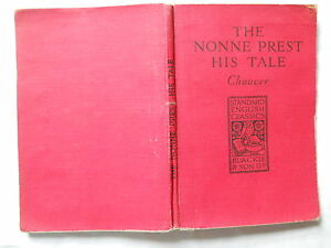 The-Nonne-Prest-His-Tale-Chaucer-Canterbury-Tales-vintage-red-linen-type-book