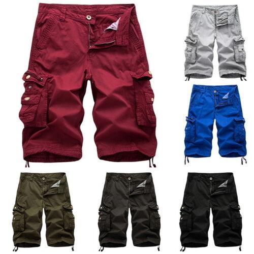P//D Mode Herren Cargo Shorts Kurze Hose Sport Bermudas Stoffhose Unifarben Hosen