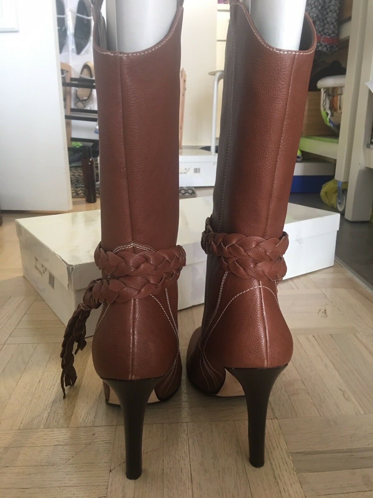 Manolo Blahnik marron Leather Tall bottes 38.5  1295 1295 1295 321e14