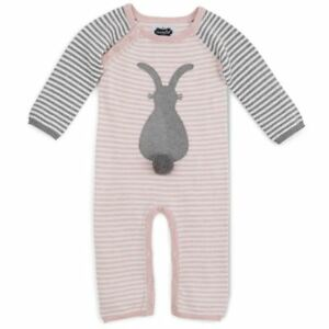 NWT-Mud-Pie-Bunny-Baby-Girls-Pink-Sweater-Romper-Easter-Outfit-0-3-3-6-Months