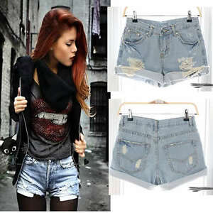 Vintage Inspired Destroyed Ripped Off High Waisted Denim Shorts | eBay