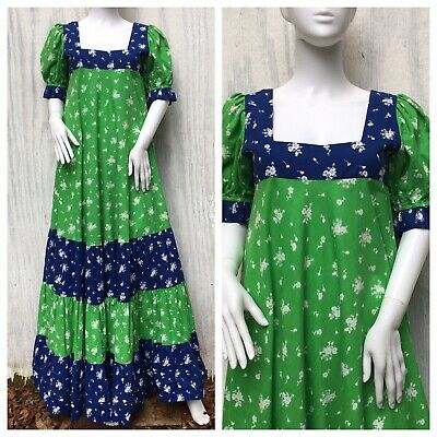 size S 60s70s puff sleeve vintage prairie ditsy floral prom wedding dress