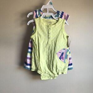62ec24f86 NWT Carter's Baby Girl Spring Summer Romper Dress 2 Piece Set Size 6 ...