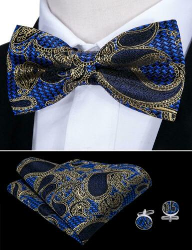 USA Gold Black Blue Red Tie Bowtie Set Paisley Solid Printed Pre-tied Wedding