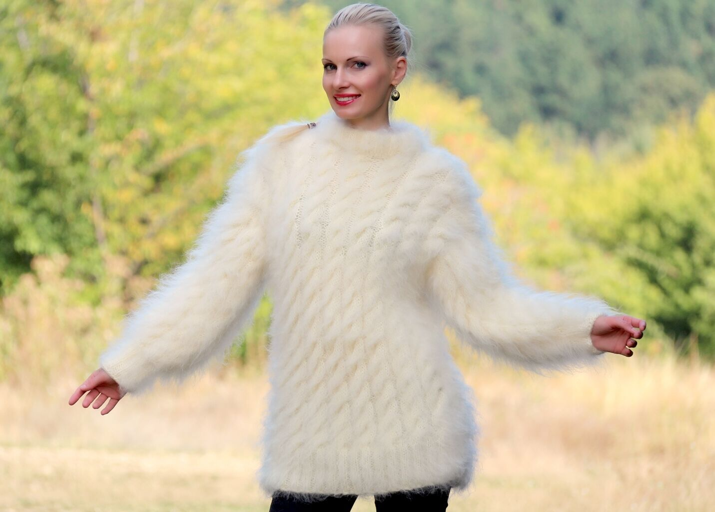 Ivory white hand knitted mohair mohair mohair sweater cable knitted fuzzy jumper SUPERTANYA d9566f