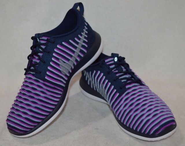 902d3f2953 Nike Youth Roshe Two Flyknit Running Shoes-navy Blue/ Purple 6.5 M ...