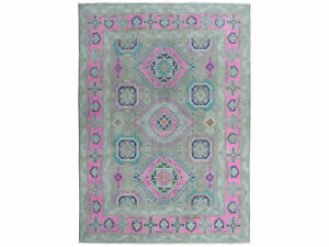 """8'x9'9"""" Colorful Fusion Kazak Pure Wool HandKnotted Oriental Rug G50554"""