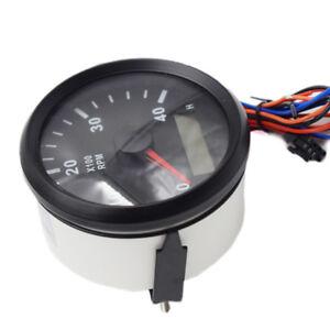 Boat RPM Meter Tachometer Hourmeter 0-6000 RPM 85mm black