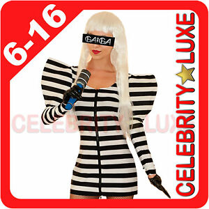 New-Black-White-Striped-Lady-Gaga-Celebrity-Fancy-Dress-Party-Costume-90s-Ladies