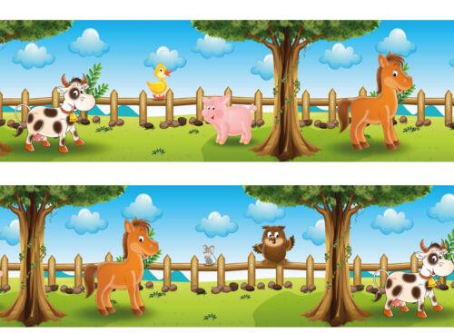 Bordüre Tiere auf dem Bauernhof Borte Tapeten Bordüren Borde Wandborde