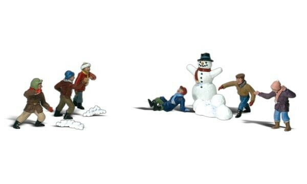 HO Scale Model Railroad Trains Woodland Scenics Snowball Fight Figures 1894