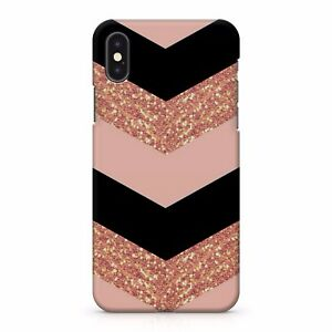 rose gold glitter chevrons pattern colourful pink black printed phone case cover ebay. Black Bedroom Furniture Sets. Home Design Ideas