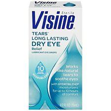 Visine Tears Long Lasting Dry Eye Relief Lubricant Eye Drops 0.50 oz Each