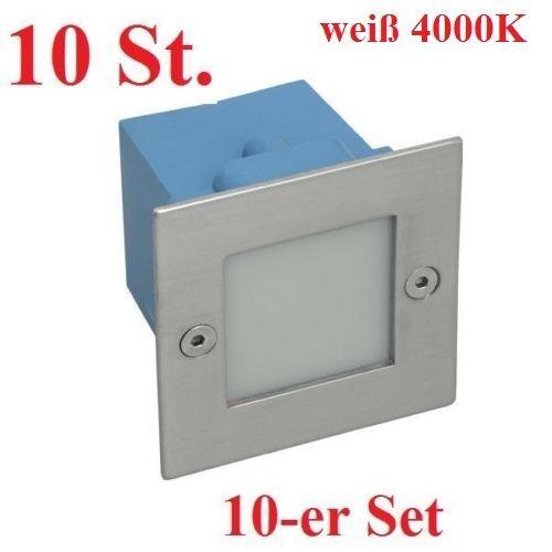 10er Set LED LED LED Wandeinbauleuchte TAXI 1,5W Treppenspot MC weiß Treppenleuchte IP54   Fairer Preis    2019    eine breite Palette von Produkten  c2d029